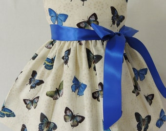 18 Inch Doll Dress - Fit American Girl Doll - Blue Butterflies