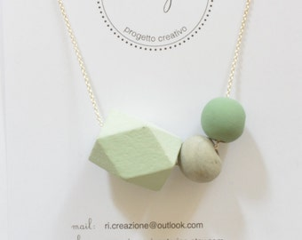 wooden TRIO necklace and cement