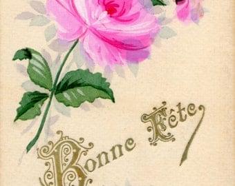 French antique postcards flower 34  Ephemera for scrapbook, collage, decoupage, craft,digital download,printable.