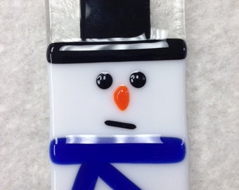 Snowman Fused Glass Ornament
