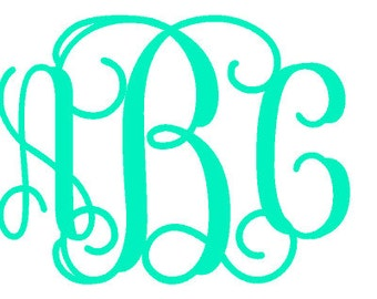 Monogram Vinyl Car Decal 8x10