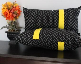 Handmade: 18x9 Black & Yellow  fluff Pillows (Set of 2)