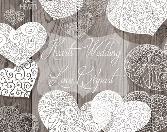 Hearts Lace  Rustic Clipart, Hand Drawn clipart. Wedding diy elements, hearts, invite, printable