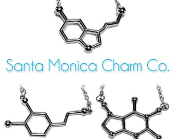 The Original Santa Monica Charm Co. Molecule Necklace (SEROTONIN, CAFFEINE, or DOPAMINE) With Polished Science Charms and Cotton Gift Pouch