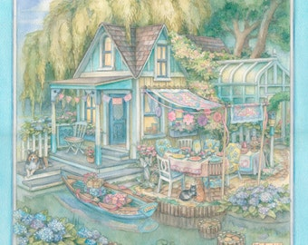 Canalside Cottage  Watercolor Painting by Kim Jacobs