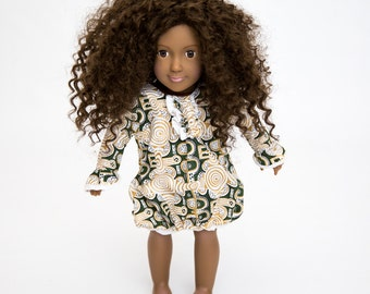White Ankara Bubble 18 inch Doll Dress. American Girl doll clothes. Matching African print doll dress