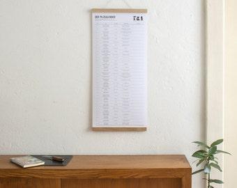 Set / the mushroom calendar + poster Strip oak A3