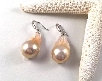 Beautiful Pink Baroque Pearl Earrings