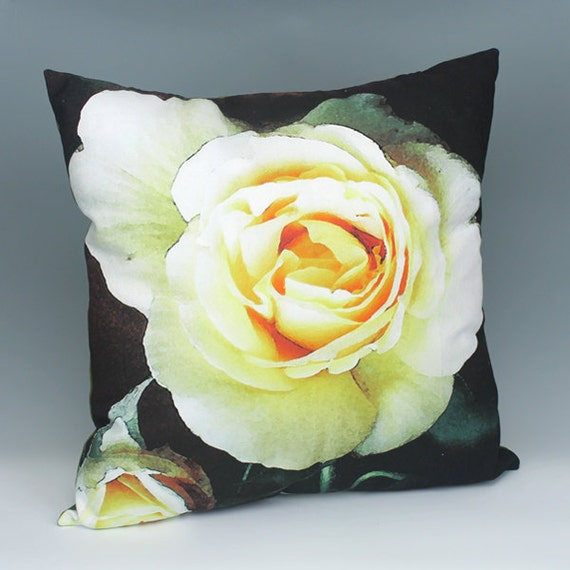 Etsy Yellow Throw Pillow : Yellow Rose Throw Pillow by DebbieTomassiArt on Etsy