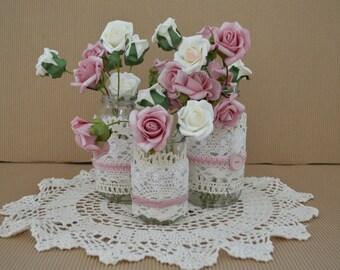 Mason jar wedding decorations - dusty rose, set of 3