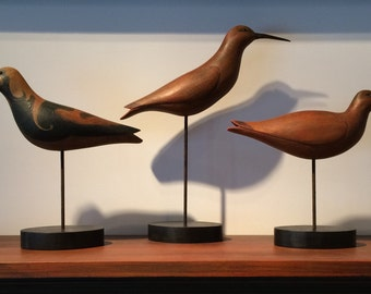 Set of three folk art shorebird decoys by K. William Kautz