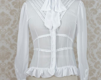 White Long Sleeve Chiffon Blouse Victorian Steampunk Lolita