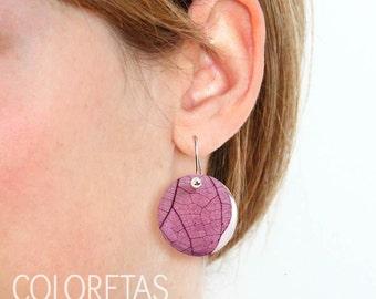Purple Ivy hook earrings