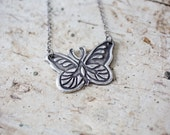 butterfly necklace - butterfly pendant - bohemian necklace - boho necklace - large butterfly - butterfly jewelry