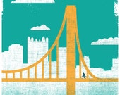 Pittsburgh Art City of Bridges 2 Silkscreen Pittsburgh Bike Print Pittsburgh Bicycle Poster Bridge Art Wall Decor & Wall Art