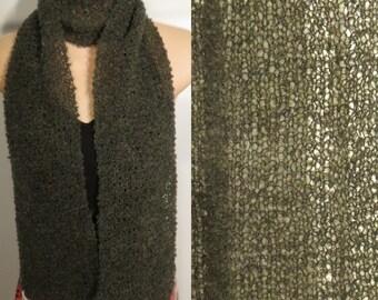 Hand Knit Scarf Lace Alpaca Wool Boucle Dark Moss Green