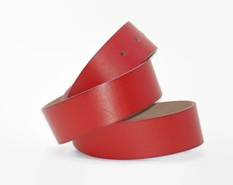 Faux Leather Vegan Snap on Belt Red Medium Weight