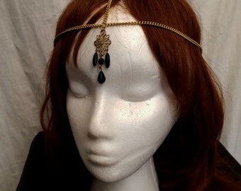 Handcrafted Bellydance Burlesque Flapper Headdress Head Chain Aphrodite 1