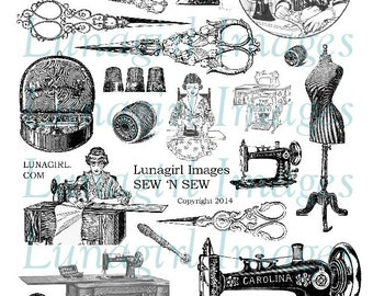SEW digital collage sheet DOWNLOAD vintage images Victorian sewing machines notions thimbles lady clipart printables antique scissors spools
