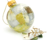Recycled Glass Ball Decoupage Inside - Olive Green, Silver and Gold Tissue Paper