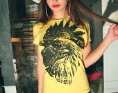 yellow rooster t shirt, womens rooster tee, womens yellow tee, cock t shirt, graphic tee, preshrunk t-shirt, yellow soft t-shirt, S- XXL