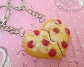 Best Friend Pizza Keychains: BFF Jewelry, Polymer Clay, Best Friend Keychain Set, Miniature Food Jewelry