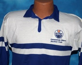 Edmonton Oilers Hockey Club 1980s Small Rugby Shirt