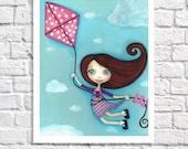 Children's Art Print Little Girl Bedroom Wall Art Flying Kites Kid's Room Artwork Whimsical Kite Picture For Nursery Baby Girl Nursery Decor