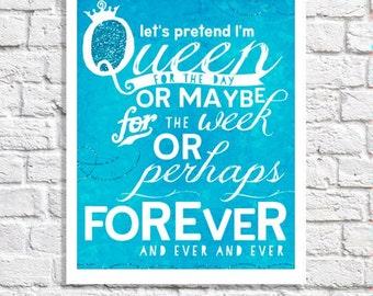I'm The Queen Quote Print Wall Art For Women Funny Office Sign Dorm Room Decor Teen Bedroom Idea Tween Artwork Little Girl Turquoise Nursery