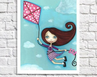 Children's Art Print Little Girl Bedroom Wall Art Flying Kites Kid's Room Artwork Whimsical Kite Picture For Nursery Baby Girl Nursery Decor