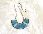 Teal Deco Window Crescent Statement Necklace - DTLA Collection - by Loschy Designs