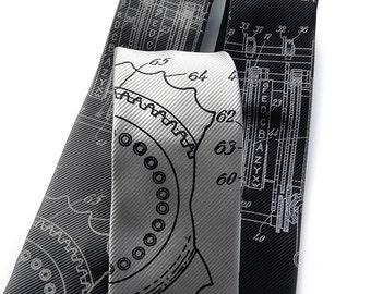 Enigma Machine necktie. Early computer science tie. Silkscreened fine-stripe woven microfiber men's tie. Homage to Alan Turing.