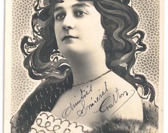 Art nouveau hair glitter postcard Reutlinger actress Lavergne