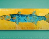 Great Barracuda Art Block- Saltwater Fish Art- Fish Gifts- Beach Home Decor- Wall Art for Men- Gifts for Boyfriend- Gifts for Him- Dad Gifts