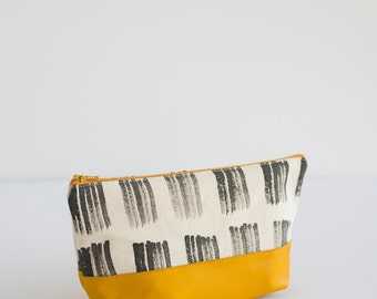 NEW Hand Painted Canvas Zipper Bag  in Brushstroke Grid, Yellow Leather Bottom