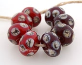 Lampwork Glass Beads 4 Red SILVERED Ivory Polka Dots Set- TANERES sra - light or dark