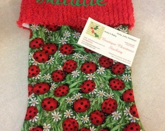 Bright Allover Ladybugs and Chenille Handmade Christmas Stocking with FREE US SHIPPING