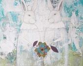 Large Acrylic Rabbit Painting , Original Acrylic Painting , Twin Rabbit Painting, Whimsical Art