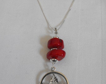 "Silver Maple Leaf & Coral Pendant on 18"" Sterling Silver Chain"