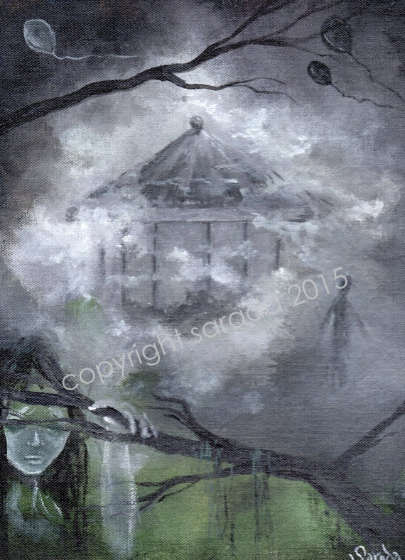 Gothic haunted fog carnival original art 9 x 12 acrylic painting circus carousel zombie mist black white grey surreal ghost balloons spectre