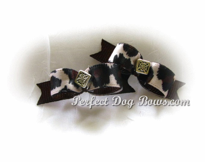 Cheetah Dog Bows, Small Pet Bow, Cheetah Print Small Dog Bow