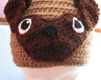 Crochet Pattern - Pug Hat Pattern - Animal Hat - Pug Dog Pattern - Pug Lover Gift - Dad Hat - Women's Hat - PDF - Digital Download