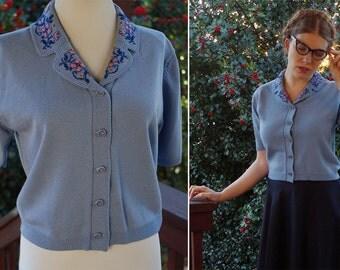 Blue SKY 1940's Vintage Light Blue Button Down RAYON Knit Shirt // size Medium // by MATSUYA