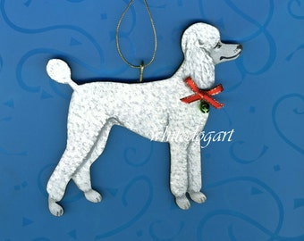 Handpainted White Poodle Christmas Ornament