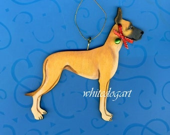 Handpainted Fawn Great Dane Christmas Ornament