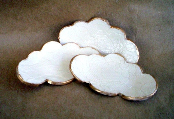 THREE Small Lace Ceramic Cloud Ring Dishes OFF WHITE