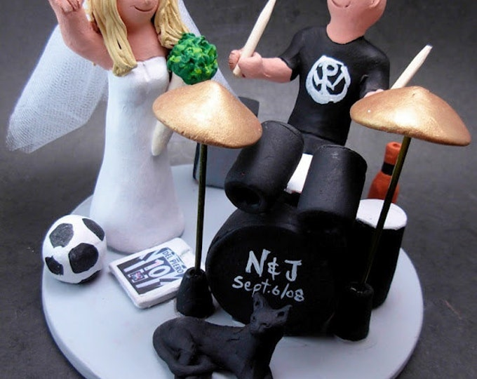 Drummer's Wedding Cake Topper, Drumming Wedding Cake Topper, Sign of the Horns Bride Wedding Cake Topper, Rock and Roll Wedding CakeTopper