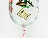 Lawyer Law Wine Glass - painted glass - personalized glass