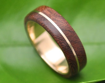 Wood Ring Gold Asi Nacascolo -  ecofriendly wood wedding band with recycled yellow 14k gold