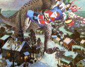 "Seasonal Box-less Set of Christmas Cards! ""T-Rex Christmas"" Card"